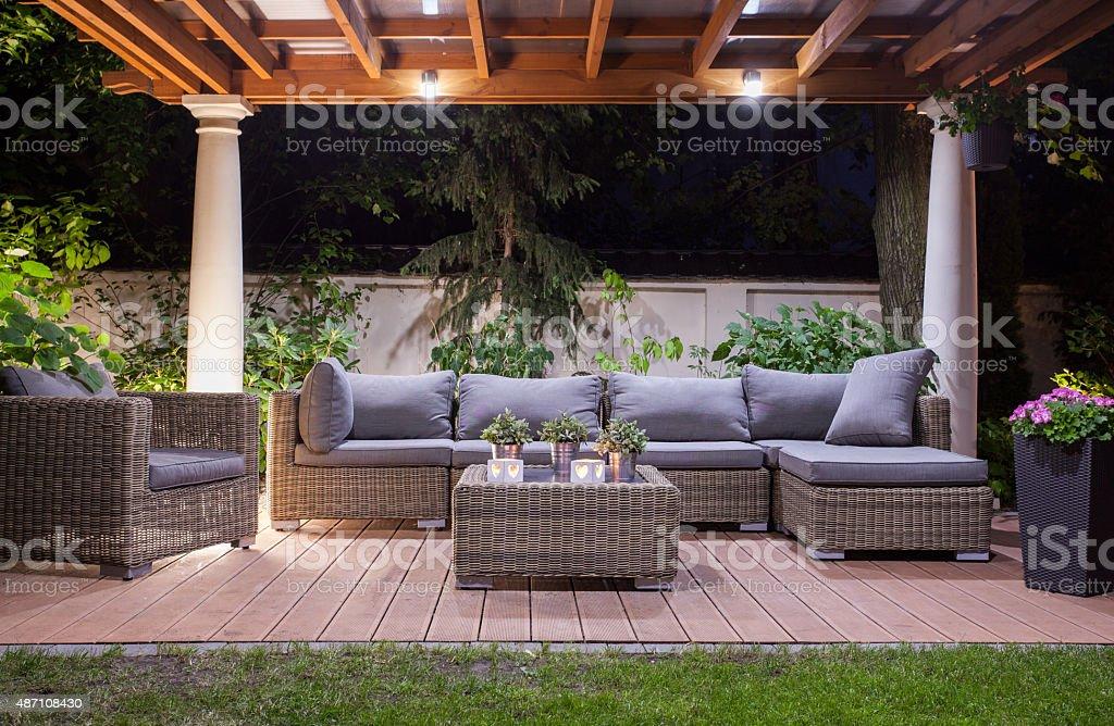 Horizontal view of modern patio at night