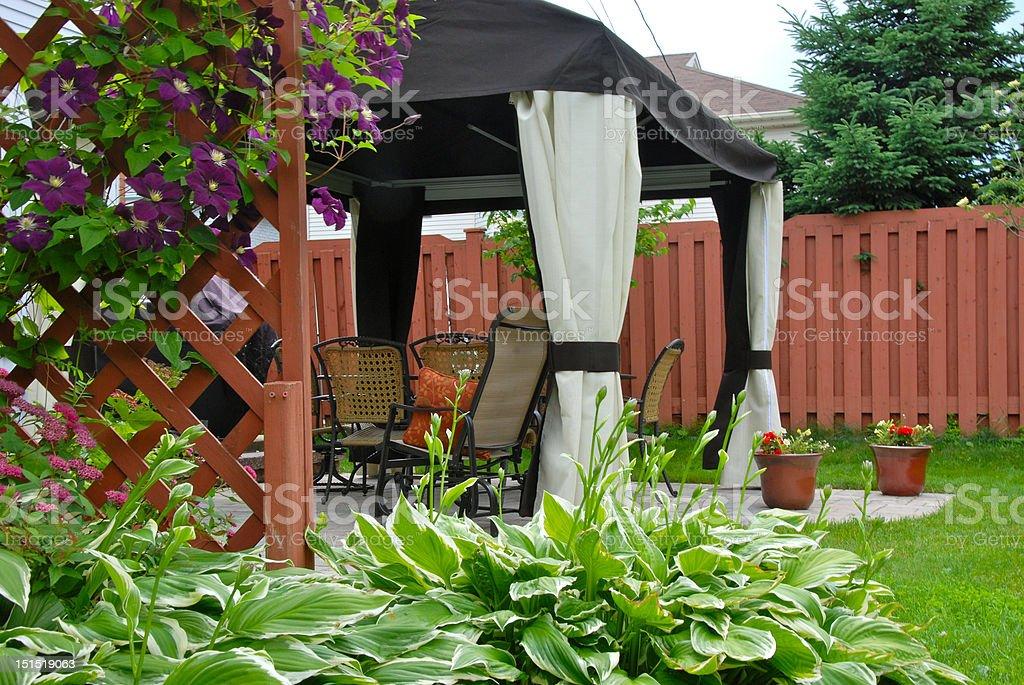 Modern patio in back yard royalty-free stock photo