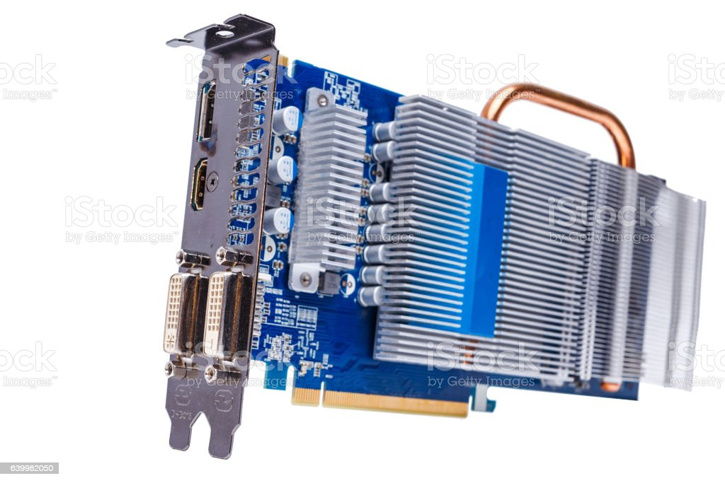 modern PCI Express Videocard on white background stock photo