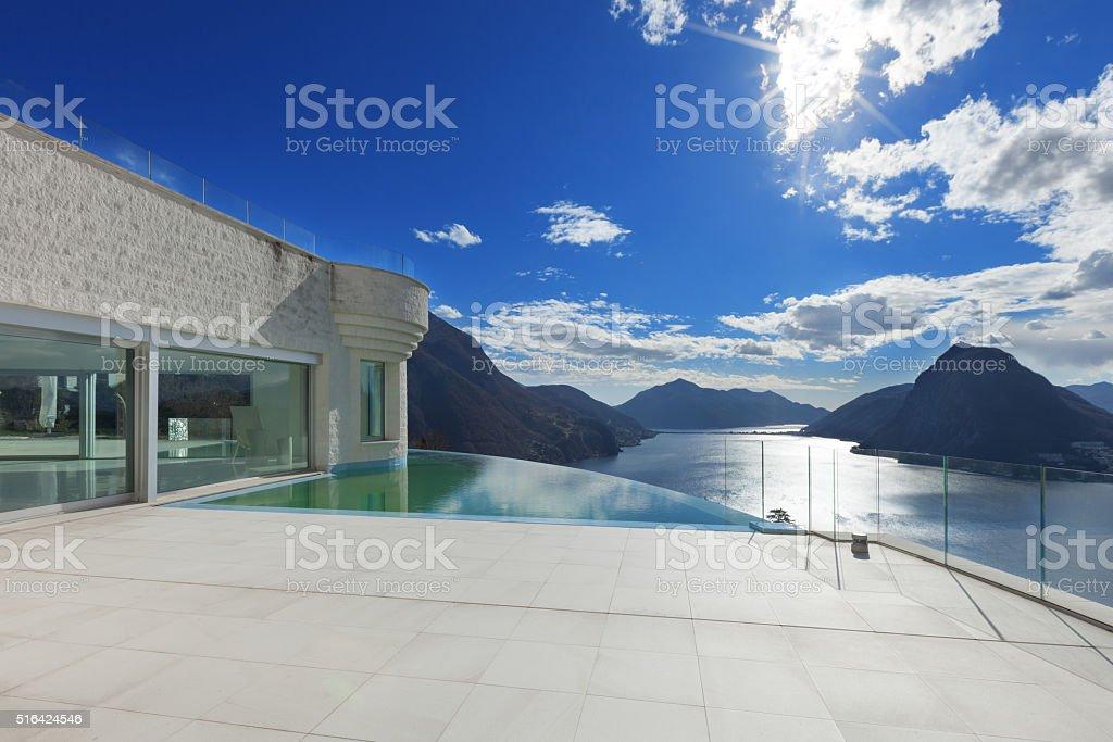 modern penthouse, exterior stock photo