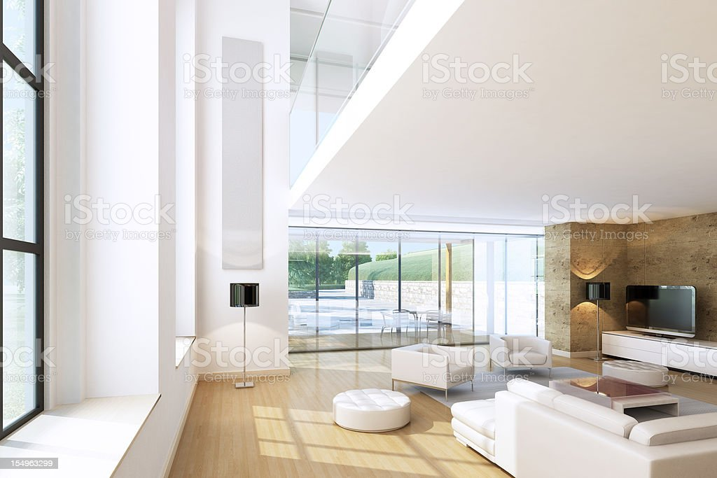 Modern Penthouse Living Room royalty-free stock photo