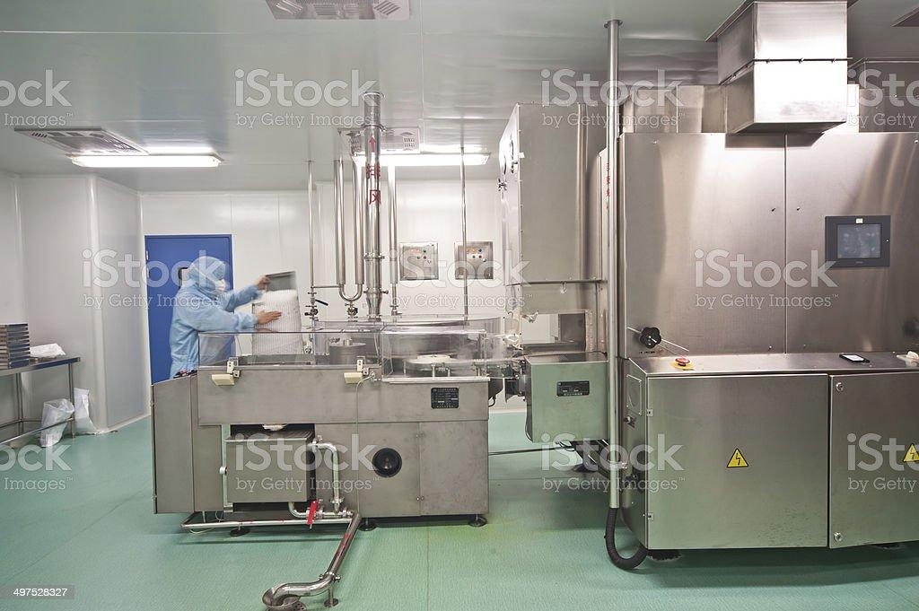 Modern pharmaceutical enterprise production line stock photo