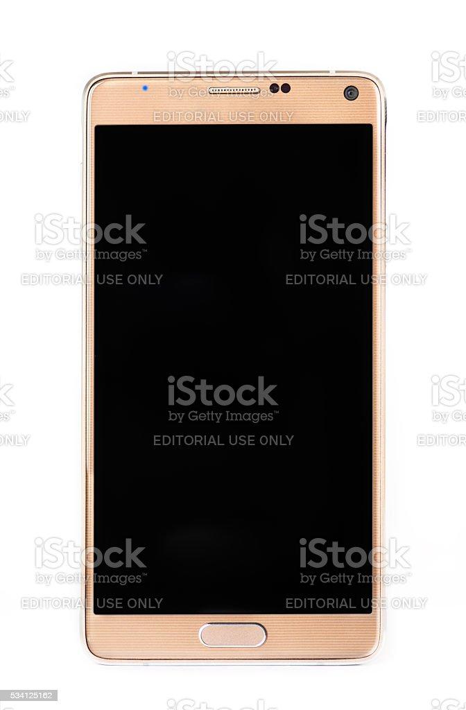Modern phone isolated on white. stock photo