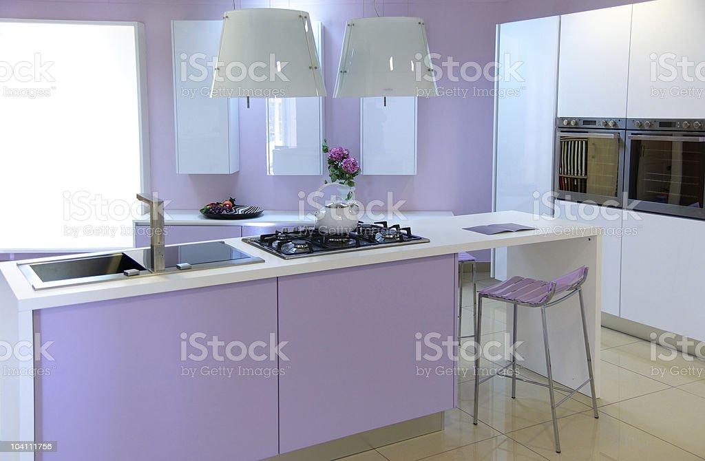 Modern pink kitchen royalty-free stock photo