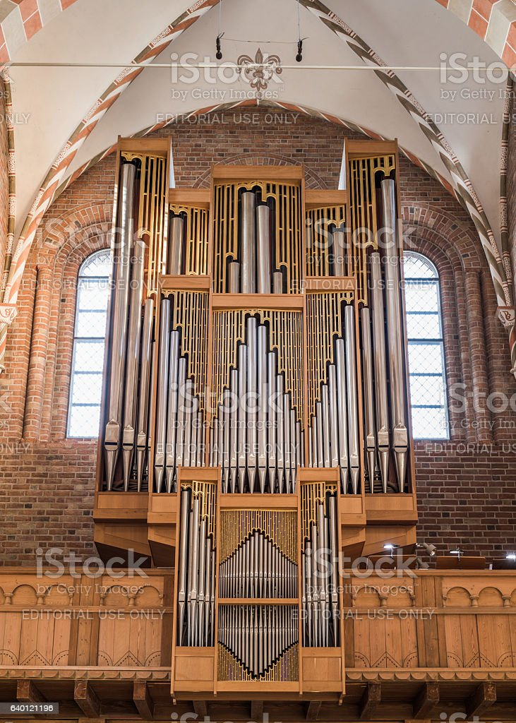 Modern pipe organ in Sanct Bendts Church, Ringsted, Denmark stock photo