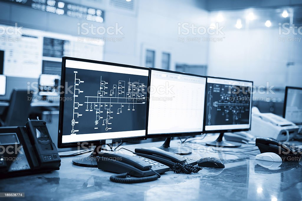 Modern plant control room stock photo