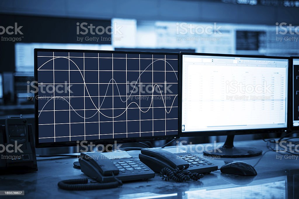 Modern plant control room royalty-free stock photo