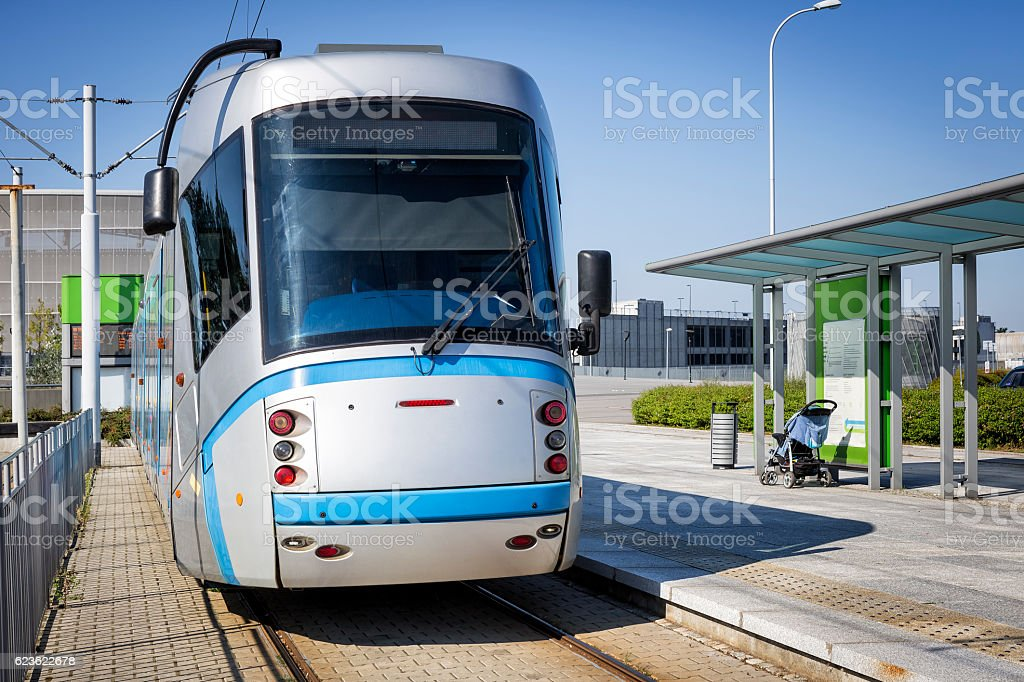 Modern Platform with Tram, Wroclaw, Poland stock photo