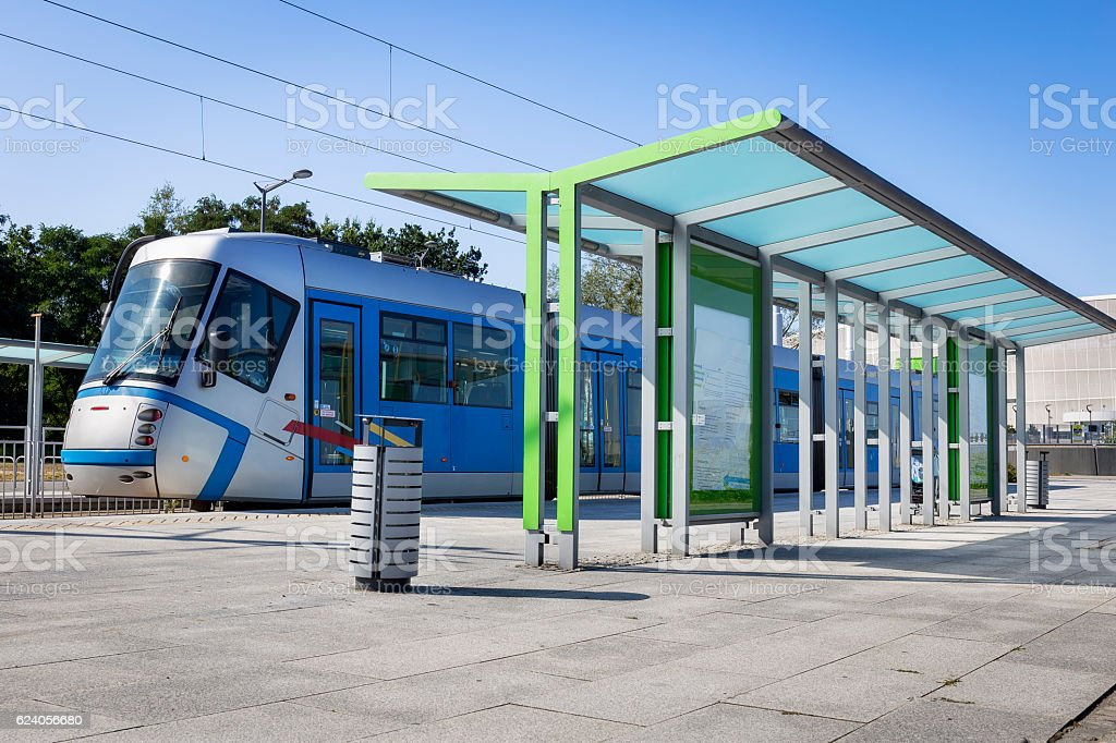 Modern Platform with Tram, Wroclaw, Poland stock photo