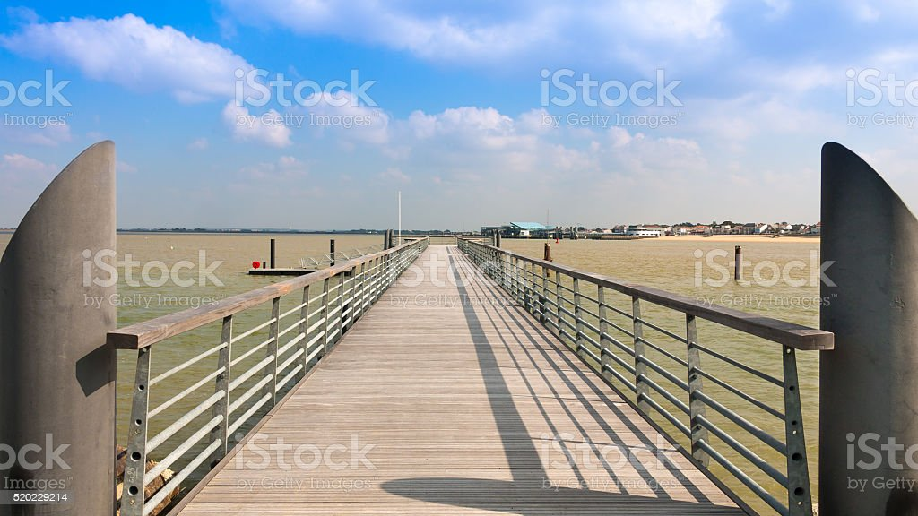 modern pontoon bridge stock photo
