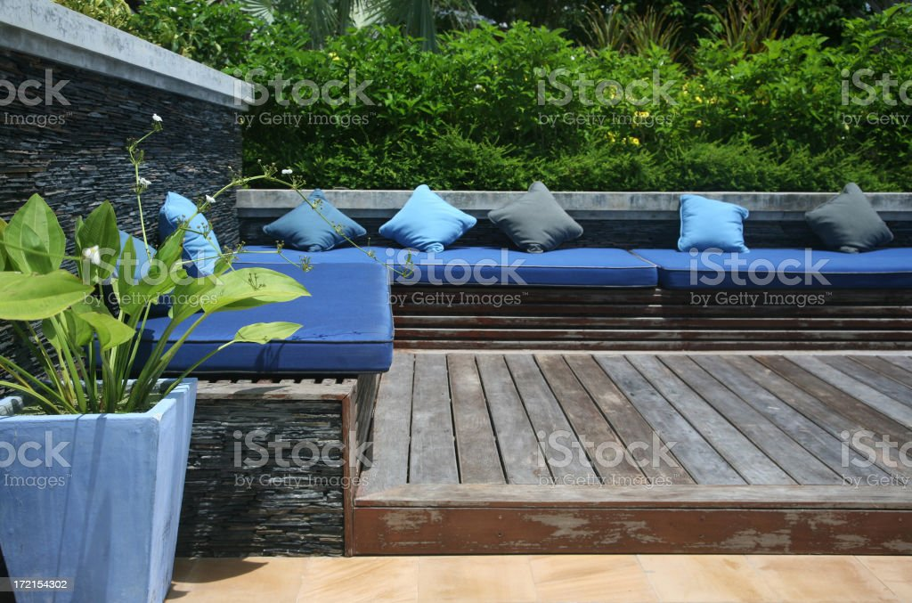 Modern Pool Terrace Sitting Area stock photo