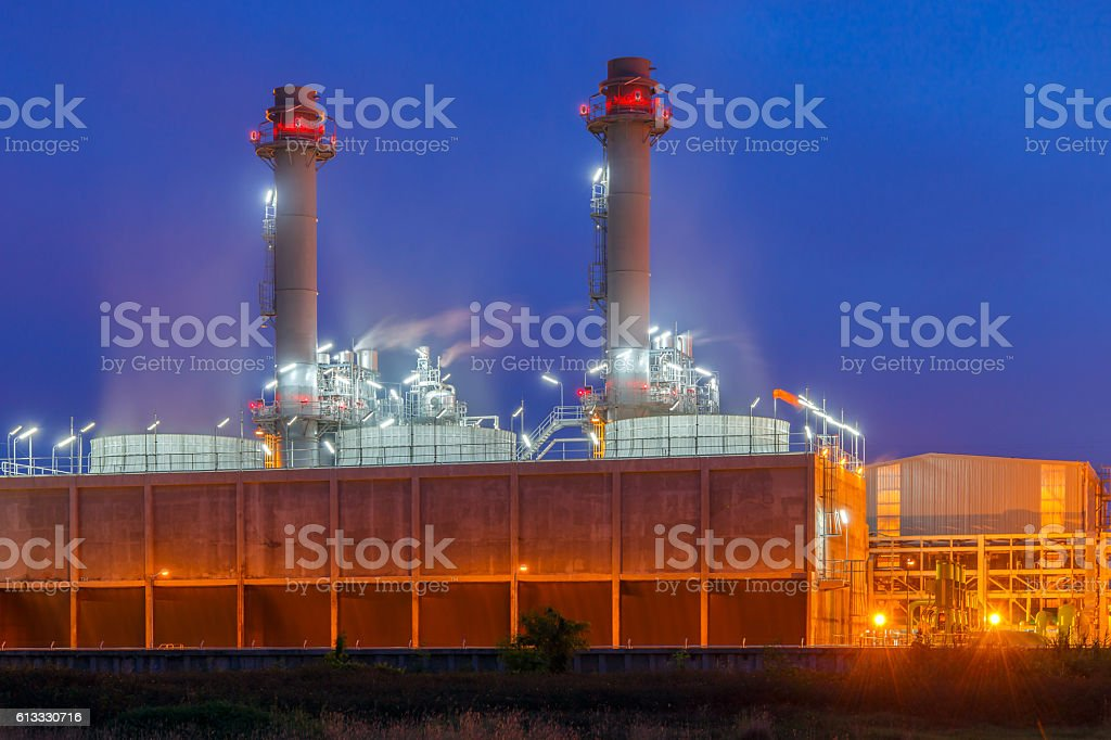 Modern Power Plant at Night stock photo