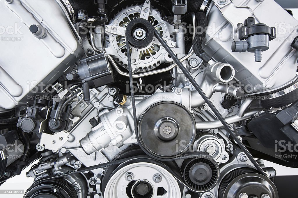Modern powerful car engine stock photo