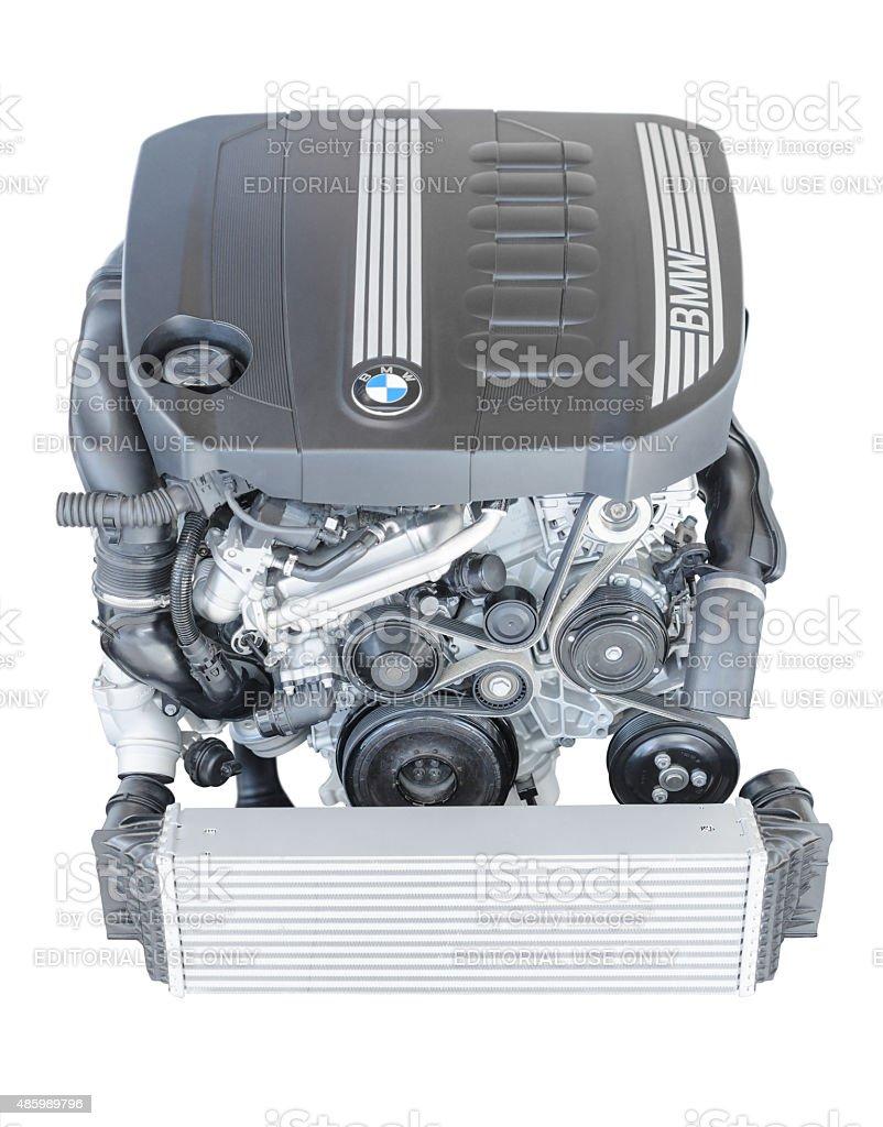 Modern powerful flagship model of BMW TwinPower turbo diesel engine stock photo