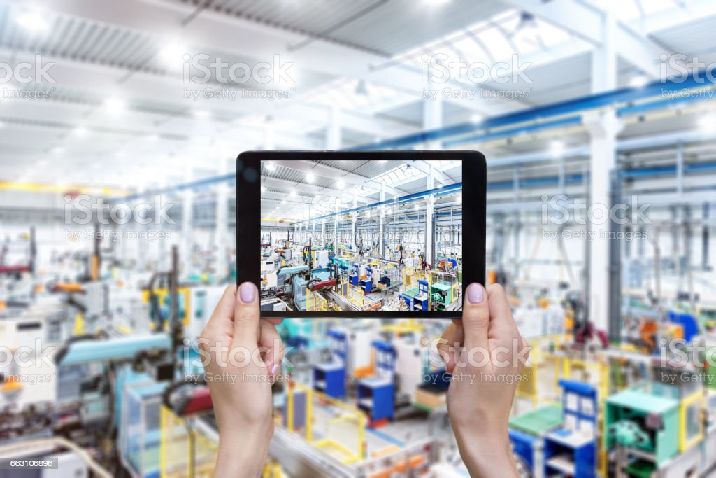 Modern production line & tablet stock photo