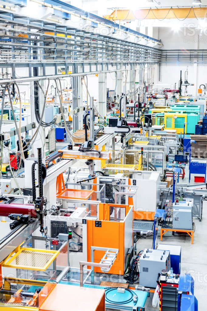Modern production line with machinery stock photo