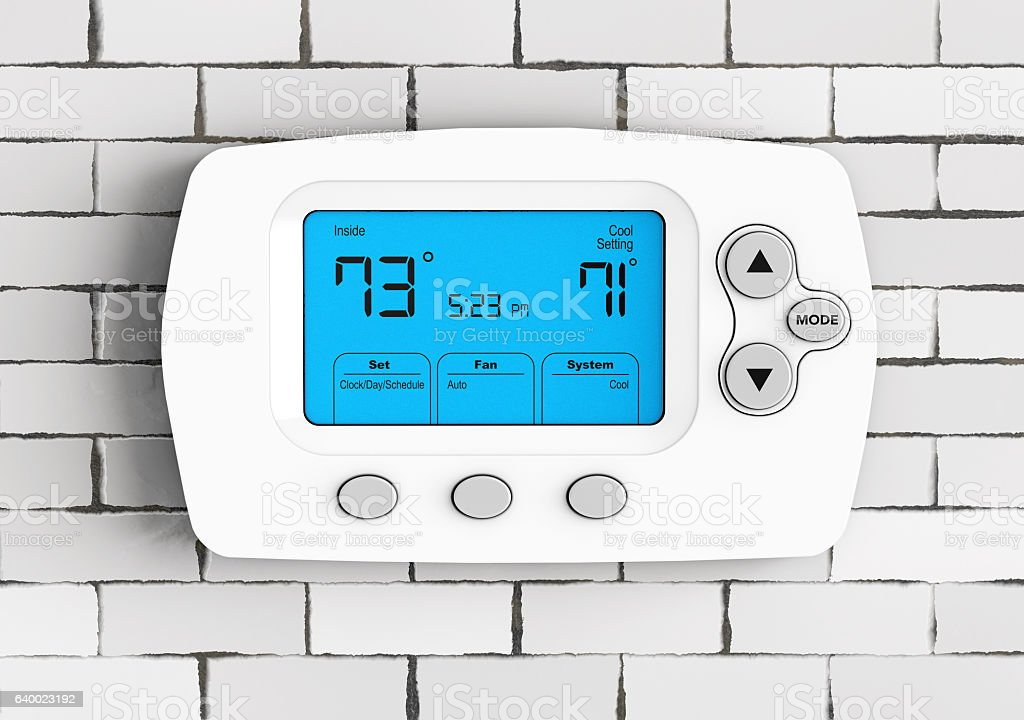 Modern Programming Thermostat. 3d Rendering stock photo