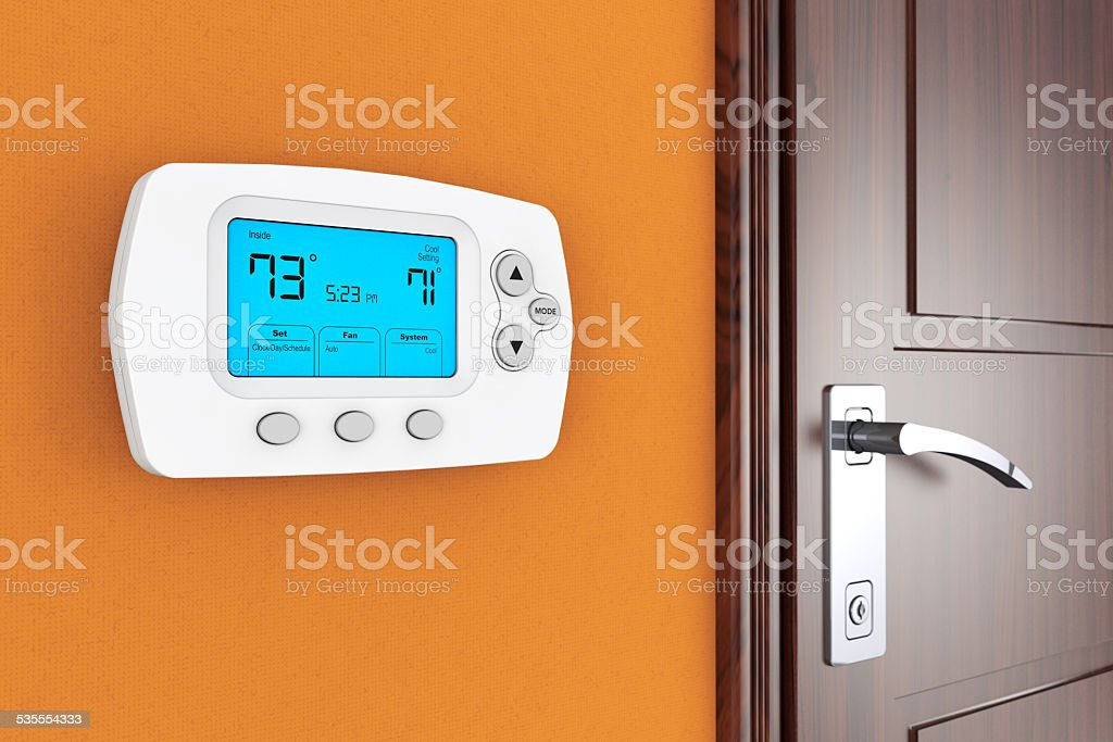 Modern Programming Thermostat stock photo