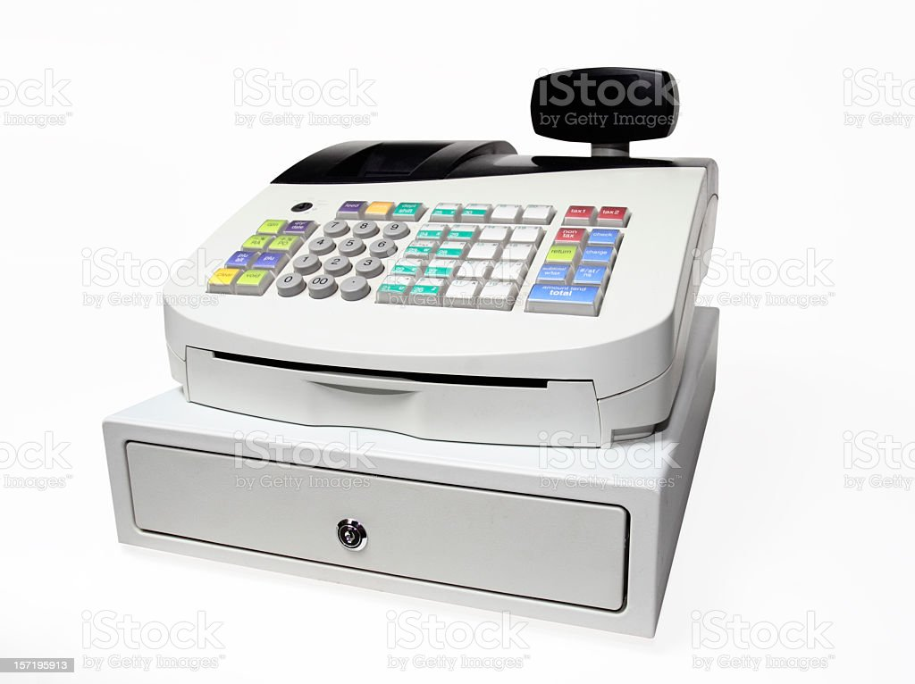 Modern Push button cash register isolated on white stock photo