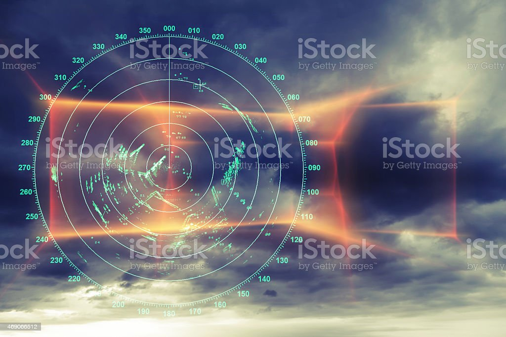 Modern radar digital screen above dark sky stock photo