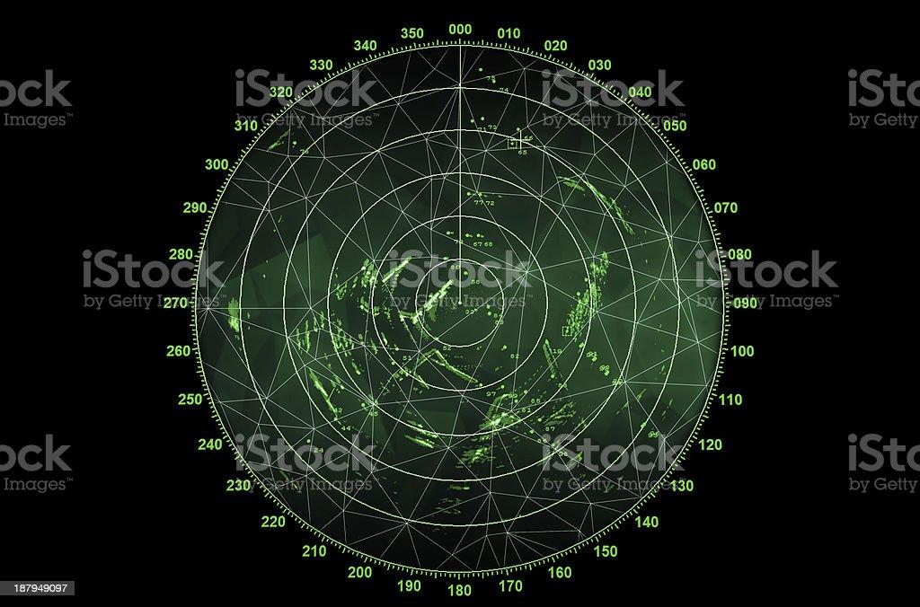 Modern radar screen with green round map stock photo