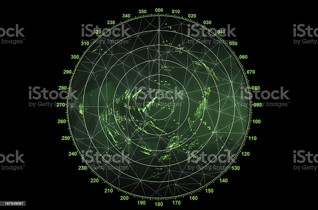 Modern radar screen with green round map stock photo
