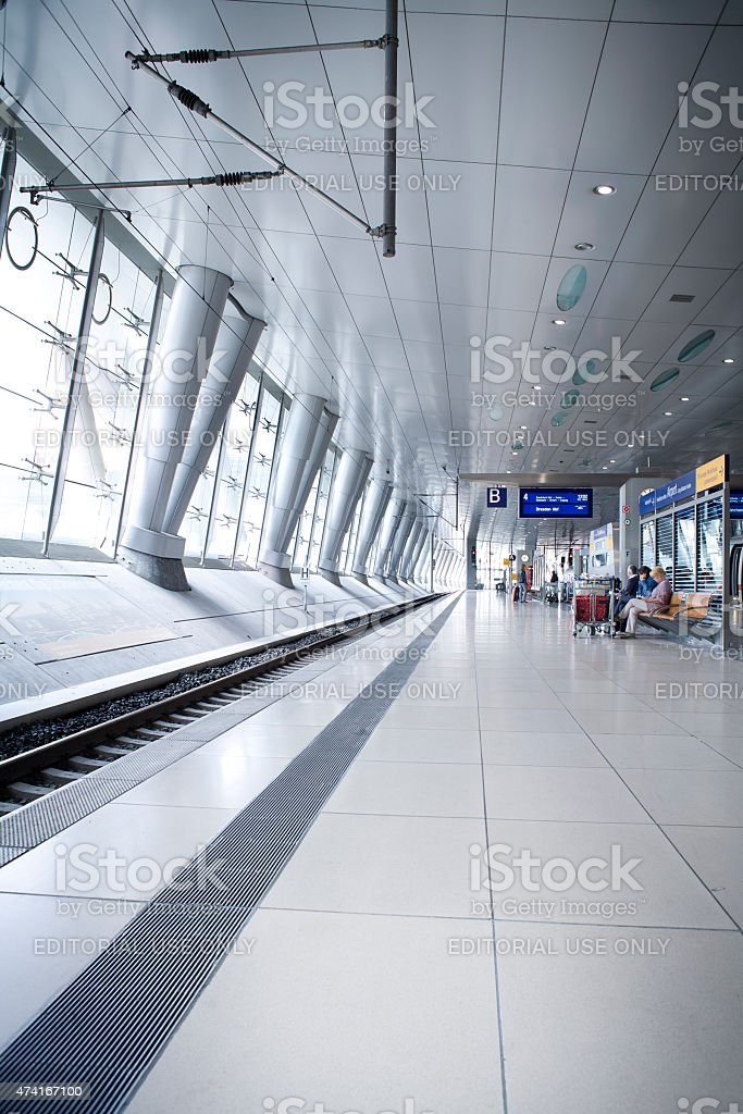 Frankfurt Airport Railway Station with waiting passengers at the...