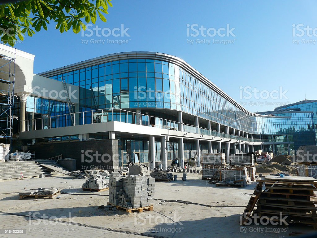 Modern Railway Station Building Construction Site stock photo