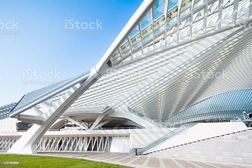 Modern Railway Station in Liege, Belgium stock photo