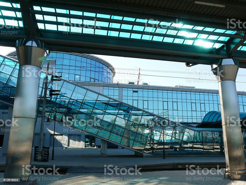 Modern Railway Station Platform and Building stock photo