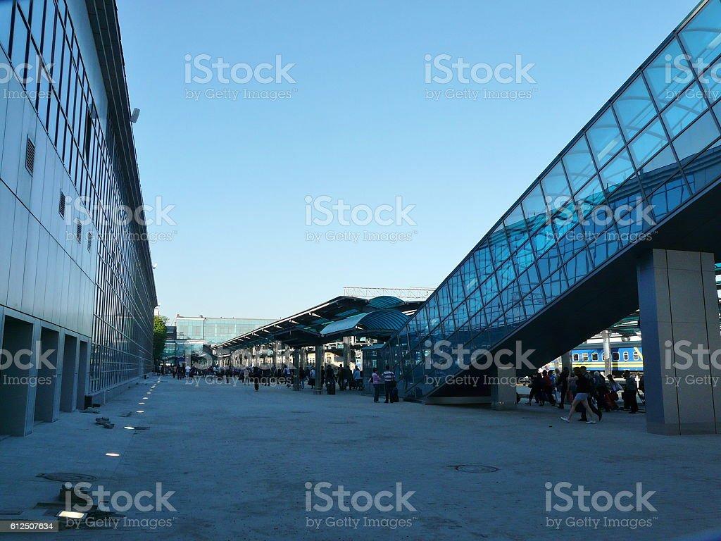 Modern Railway Station Platform in Early Morning stock photo