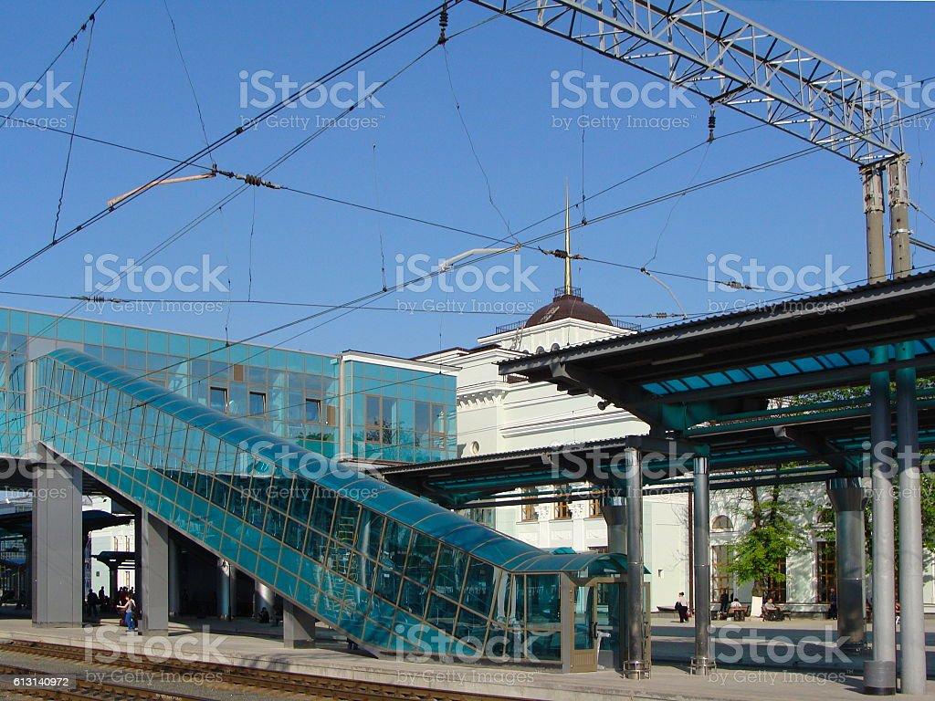 Modern Railway Station Platform stock photo