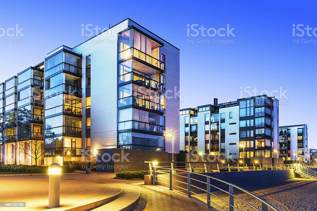 House building and city construction concept: evening outdoor urban...
