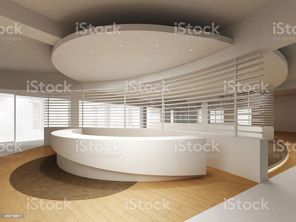 Modern reception counter design stock photo