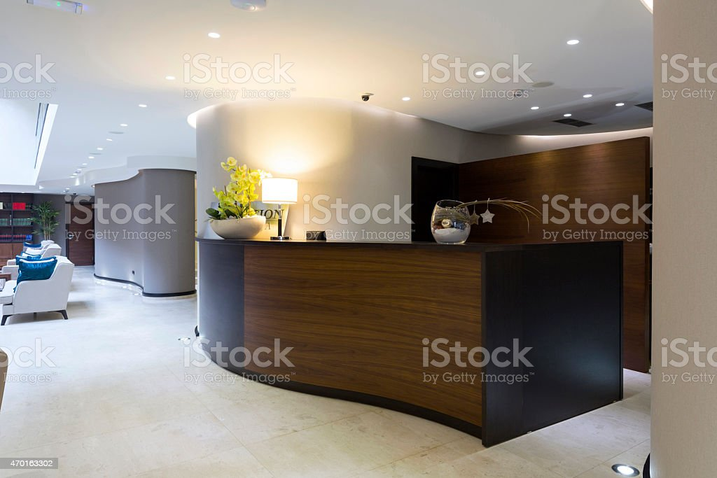 Modern reception desk stock photo