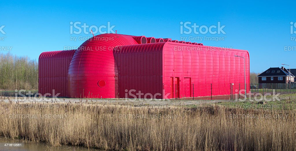 modern red building stock photo