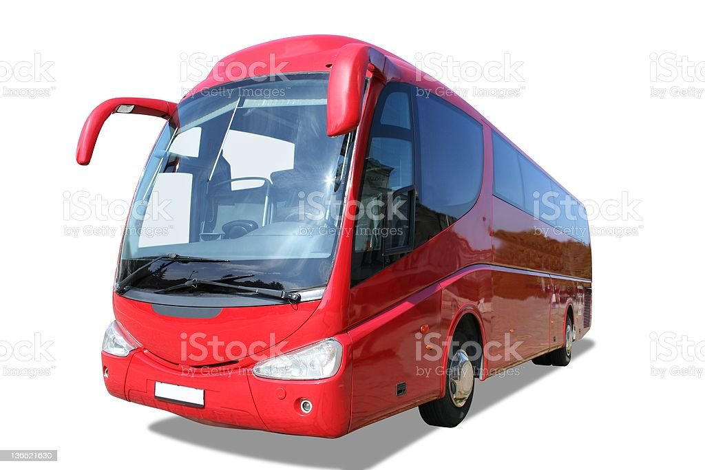 Modern red bus isolated on white stock photo