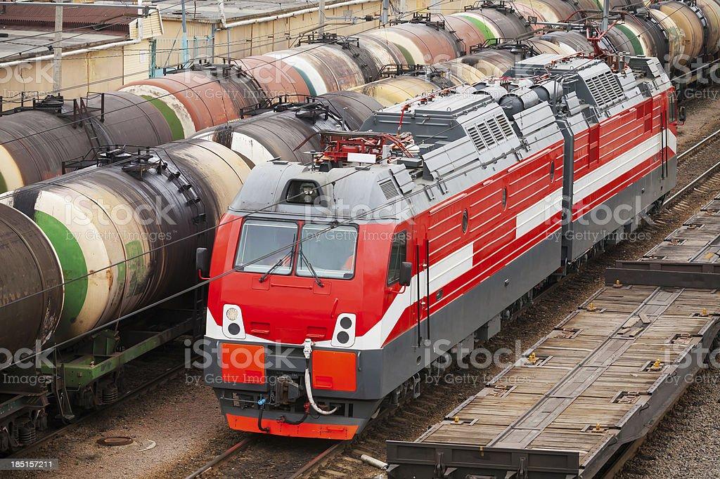 Modern red diesel electric locomotive royalty-free stock photo