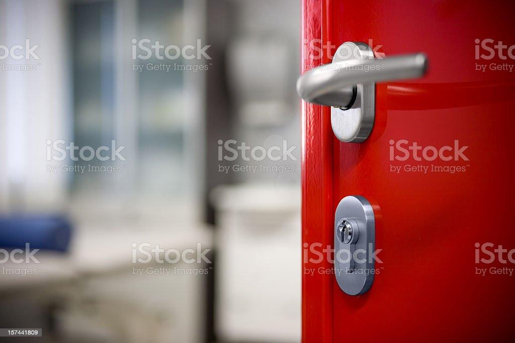 Modern red door stock photo