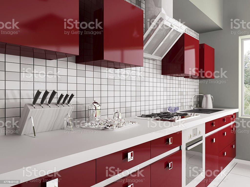 Modern red kitchen interior 3d stock photo