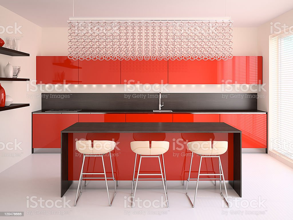Modern red kitchen. royalty-free stock photo