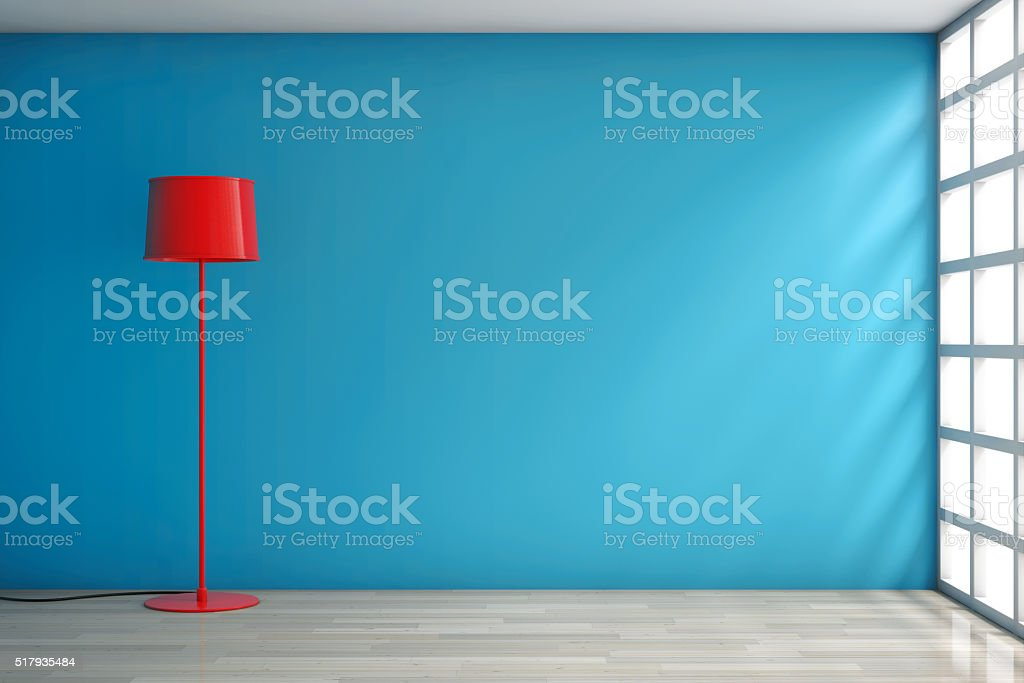 Modern Red Lamp against a wall stock photo