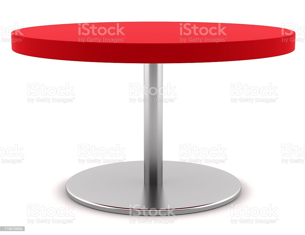 modern red round table isolated on white background royalty-free stock photo