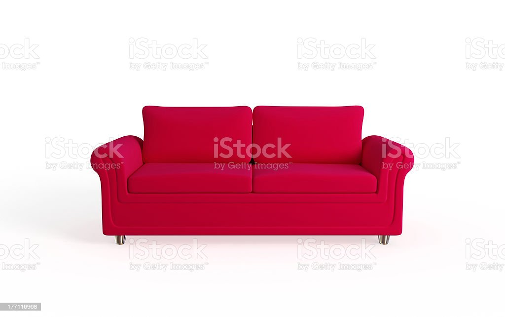 Modern red sofa. stock photo