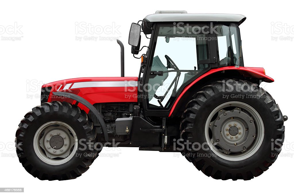 Modern red tractor stock photo