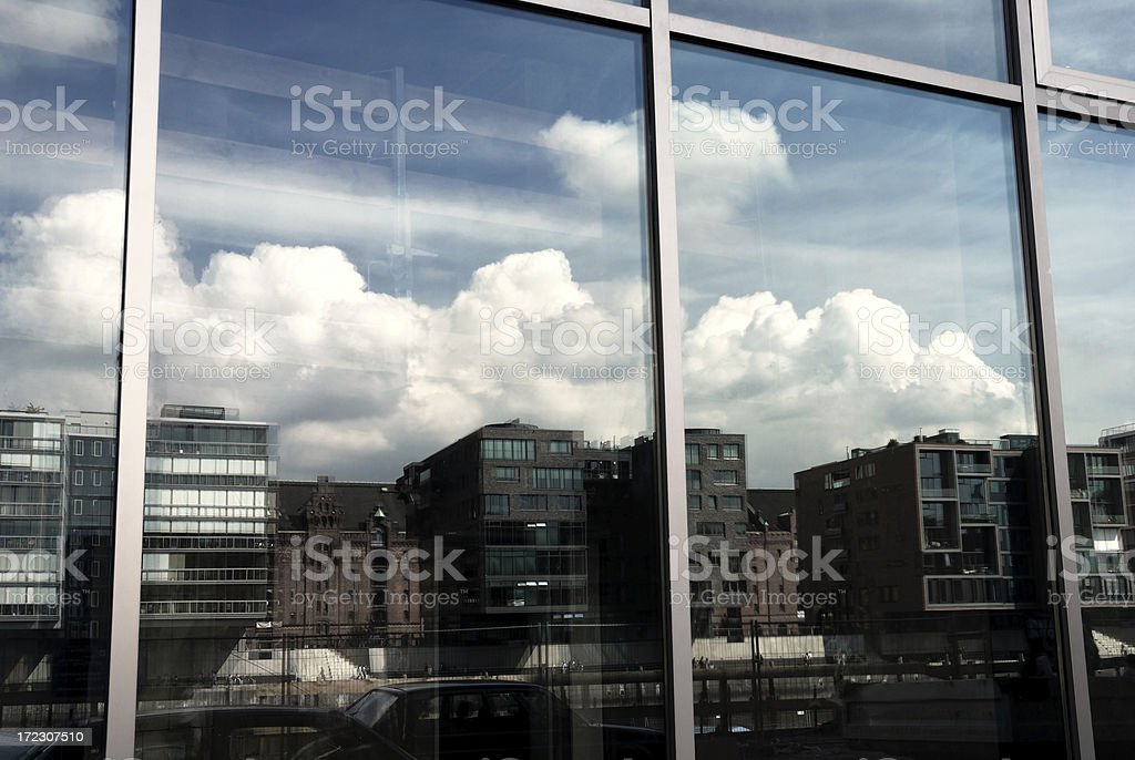 modern reflection in a glass front royalty-free stock photo