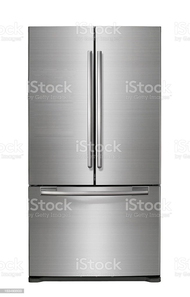 Modern refrigerator isolated on white stock photo
