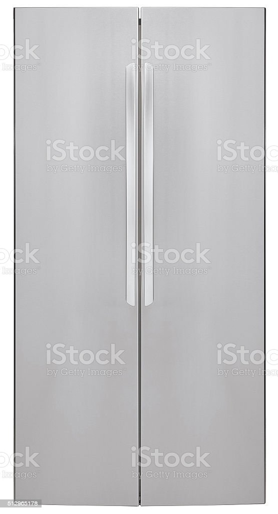 Modern refrigerator isolated stock photo