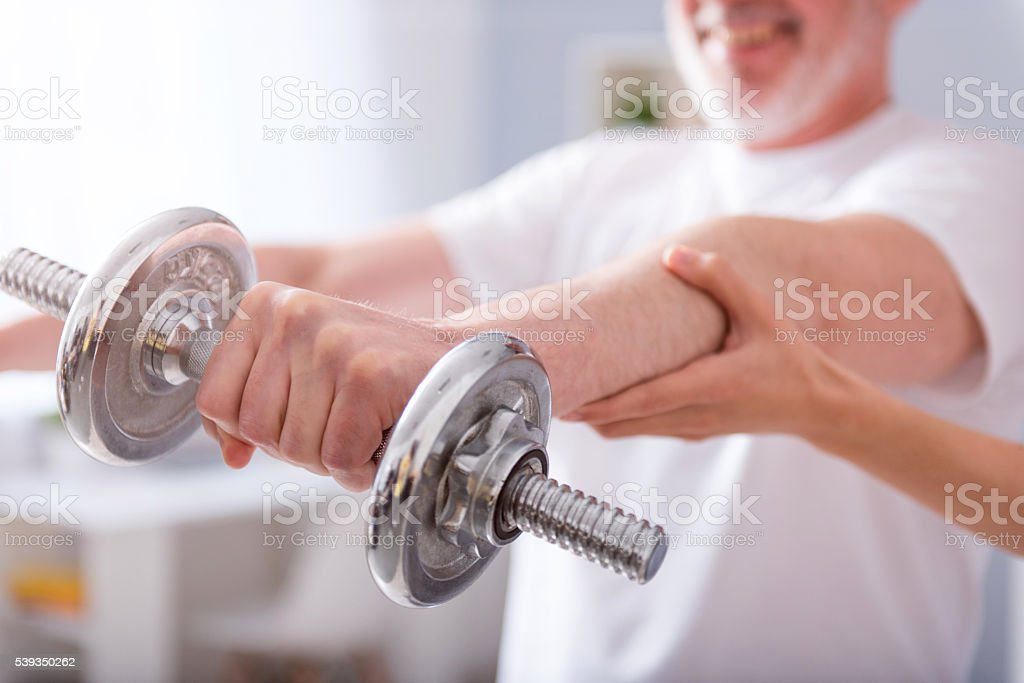 Modern rehabilitation physiotherapy stock photo