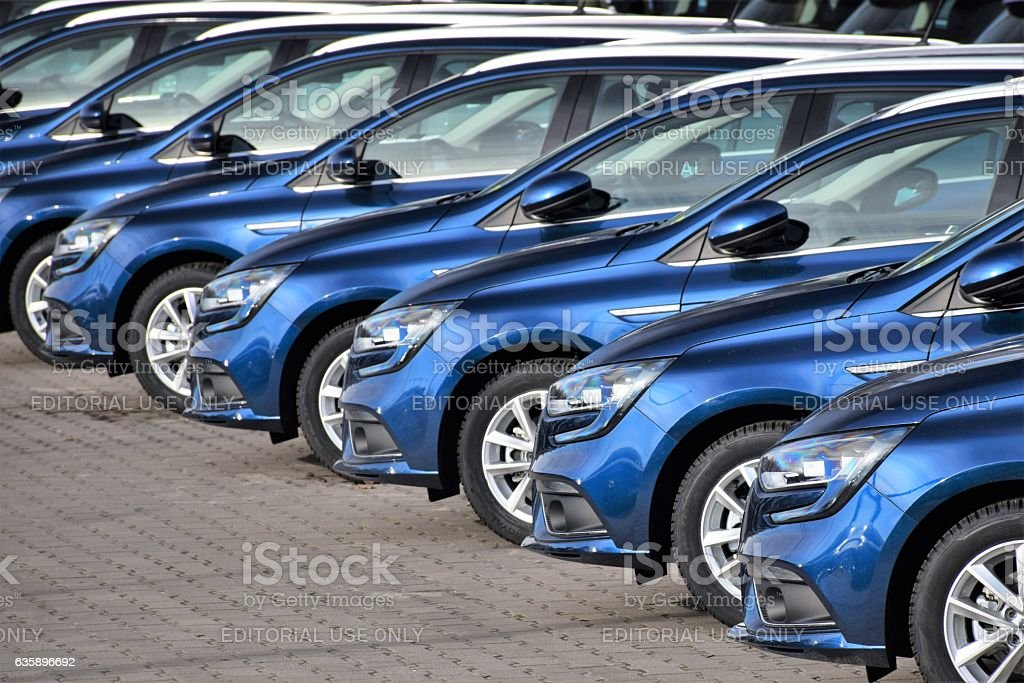 Modern Renault Megane vehicles on the parking stock photo